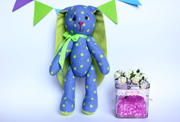 Blue stuffed bunny for little boy, Plush Bunny Toy, Child Toy, Stuff Animal, Stuff Bunny, Rabbit boy toy by TildaArt on Etsy