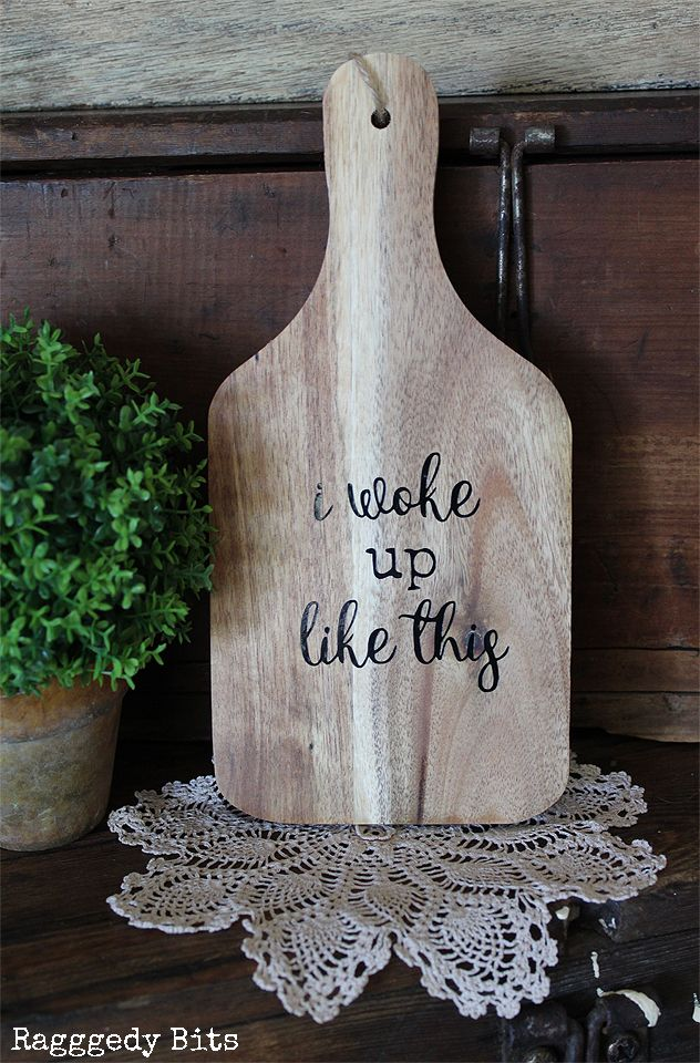 Greet each day with this cheery Rustic Wooden Paddle that reads I Woke Up Like This. Click on the picture to find out more details | www.raggedy-bits.com | #raggedybits #wooden #paddle #farmhouse #rustic #homedecor #shop