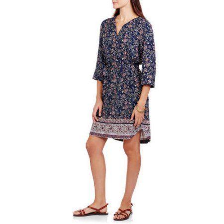 Faded Glory Women's Peasant Dress, Size: Medium, Multicolor