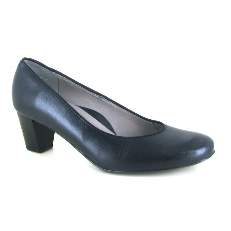 Fulbrook Navy by Ara. A ladies' stylish and versatile heeled dress court shoe, perfect for everyday smart wear. Designed with a smooth leather upper and leather covered cushioned foot bed with a stack effect block heel. The flexible sole adds comfort to this classic style. The durable TR sole unit provides extra grip throughout the winter season.