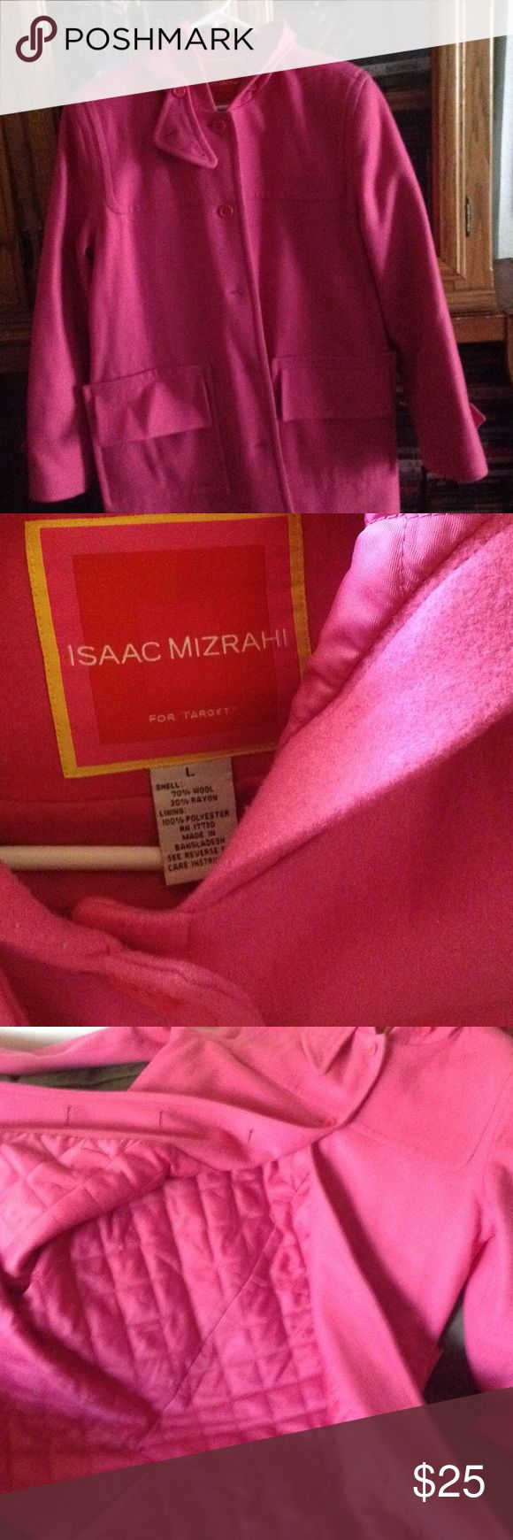 Nice coat. Really nice ecu coat in pink. No tears or holes, will be laundered before being sent. Long with hood, has all buttons and no tears. Wool/nylon Isaac Mizrahi Jackets & Coats Trench Coats