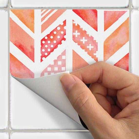 Stickers muraux de vinyle de tuiles pour dosseret par SnazzyDecal