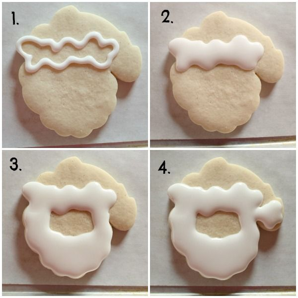 Decorated Santa Cookies 2. Begin by using white 20-second icing to flood the cookie as shown below.  I work in sections to help me stay oriented.  Start with the trim, add a beard, then the tip of Santa's hat.