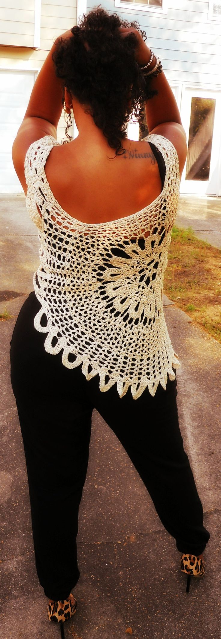 Crochet Lace Top. Sizes Med-4X. Written instructions. Instant Download PDF.