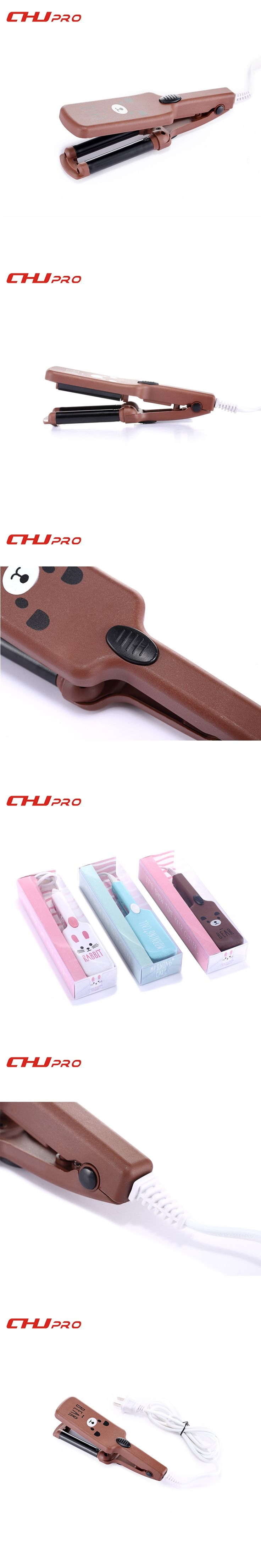 Mini Triple Barrels Hair Curling Iron Deep Waver Curling Wand Cartoon Hair Curlers Rollers 110-220V Hair Waver