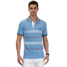 Engineered Stripe Deck Polo Shirt - Imperial Blue  19-4245