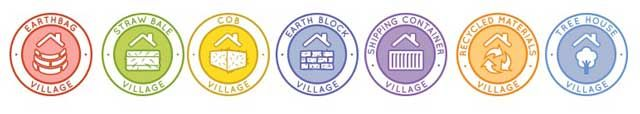 Clarified Colors and Designs for New 7 Sustainable Villages Icons - Click for Highest Good Housing Page, http://www.onecommunityglobal.org/highest-good-housing/