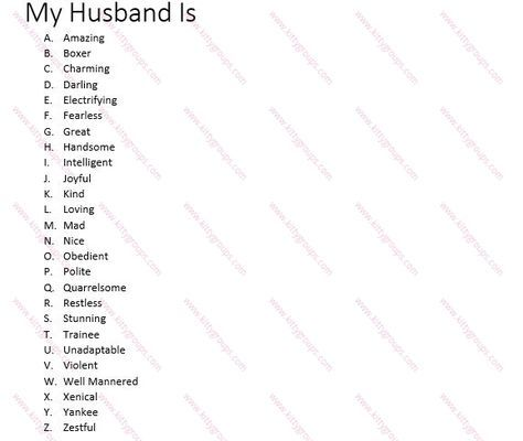 My Husband Is: Fun Paper Game For Ladies