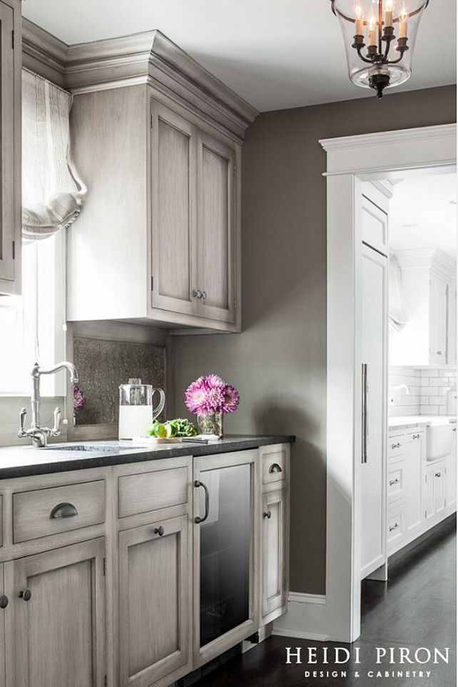 Butler's Pantry Cabinet Color looks like weathered wood. Heidi Piron Design & Cabinetry