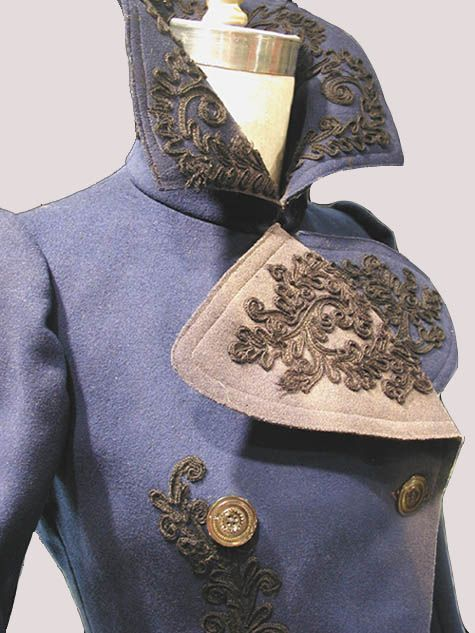Deep Royal Blue Jacket. 1895 -1905 Deep Royal Blue womans jacket [Melton Wool] This double-breasted outer coat, c. 1900, is made of Melton wool that has been dyed deep royal blue. The outside of the coat is decorated with black cotton passementerie braid at the front lapels, around the collar edge, down center front, around the hem to the back. Center back has a large motif as well as do the lower edges of sleeve hems. Detail of collar