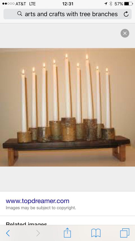 Modern rustic tree branch nine candle candelabra centerpiece