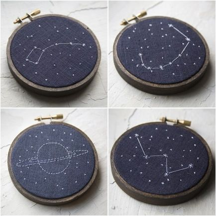 Miniature Rhino constellation embroidery