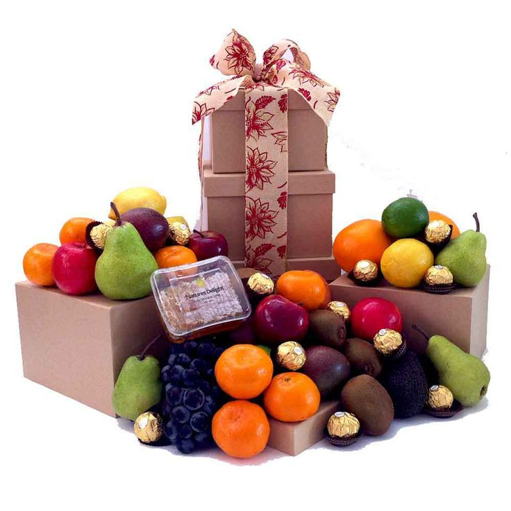 15 best fruit tower gifts images on pinterest brisbane fruit gift tower gift with raw honey ferrero chocolate negle Images