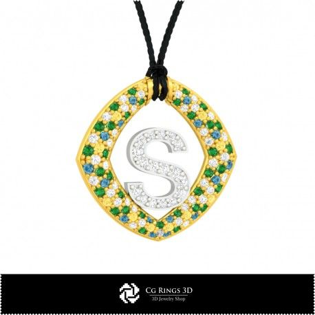 3D CAD Pendant With Letter S