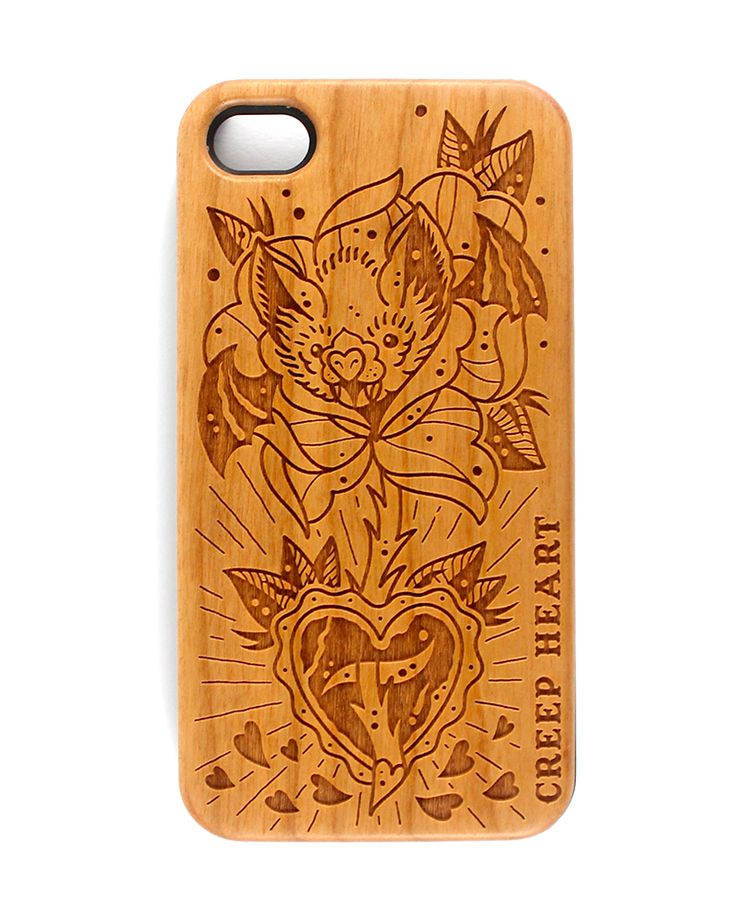 Batty Blossom Wood Phone Case for iPhone 4/4s.  Available online from the Creep Heart store (www.creepheart.com.au).   Artwork by Ella Mobbs.   Laser etching by Vector Etch (http://www.vectoretch.com.au/).