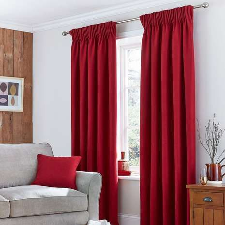 solar pencil pleat red curtain