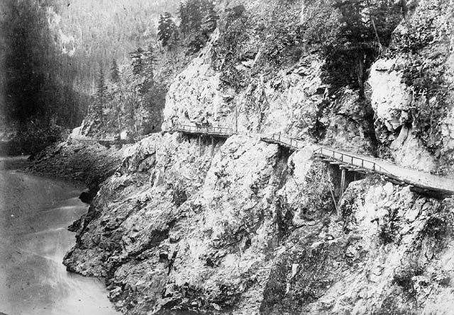 Cariboo Road in British Columbia, circa 1867 – 1868. Built by the Royal Engineers for those going to the Gold Fields in Northern British Columbia.