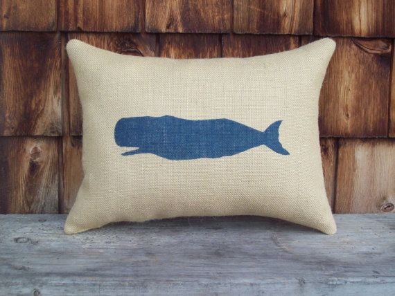Whale Pillow  - Nautical Pillow - STUFFED Decorative Pillow - Burlap Pillow - Coastal Pillow - Other Colors Available