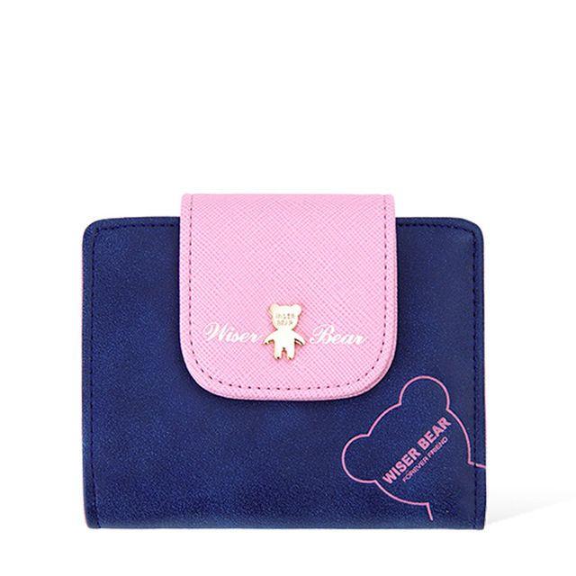 Smart Bear Mini Wallet Leather Change Clasp Purse Money Coin Card Holder Cartera