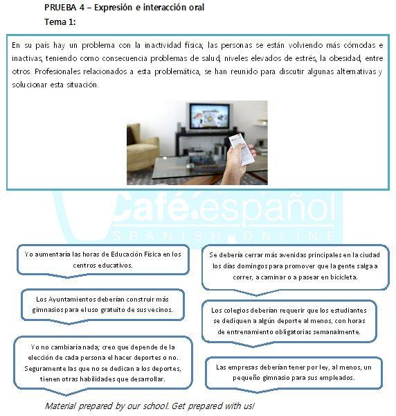 Una práctica de la Tarea 1, de la Prueba oral. Cafespañol Spanish Online te prepara para el nuevo Dele B2. Aquí una práctica oral sobre una problemática social: la inactividad física.