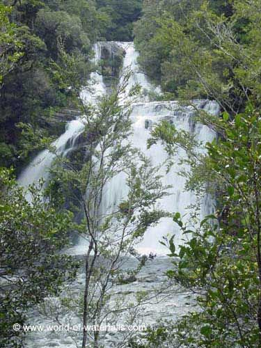 Momahaki Falls and Te-Tangi-o-Hinerau, which were two of the three Aniwaniwa Falls  Te Urewera National Park, Hawke's Bay, New Zealand