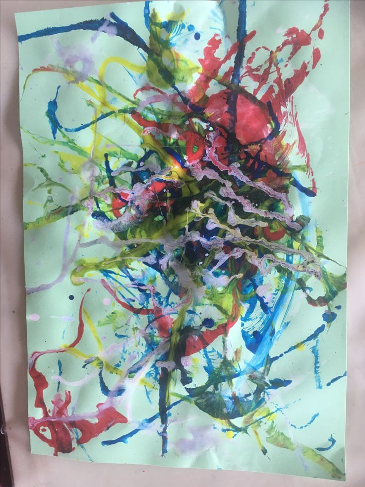 Paint Like Pollack.  Jackson Pollack inspired abstracts.  Children used string dipped into acrylic paints to print, scrape and splatter randomly.  They were encouraged to paint how they feel rather than how they want it to look.