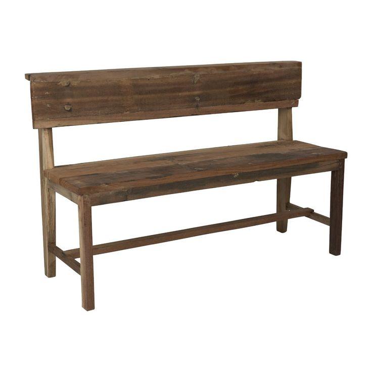 Het houten bankje is 132 cm lang, 44 cm diep en 83 cm hoog.    Handmade in Indonesia Dit is een bankje met een verhaal. De tafel is namelijk door de lokale bevolking in Indonesië gemaakt. Met de hand en van gerecycled hout. Bijvoorbeeld van de houten laadbakken van oude trucks die gesloopt worden. Het hout wordt nauwkeurig geselecteerd, dit maakt elk product uniek en zeer duurzaam.    * Bankje met rugleuning * Gemaakt van gerecycled hout * Afmeting: 132x44x83 cm    Let op! Elk exemplaar is…