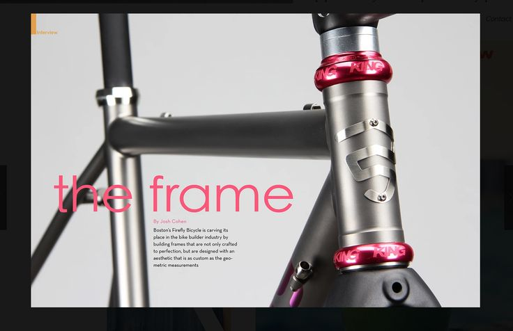 Sample DPS opener for a technical feature on cycling or bike building. The background grey offsets with the colour of the bicycle frame while the pink head set collars for the basis for the title text.  They've chosen lower case lettering for the title text.