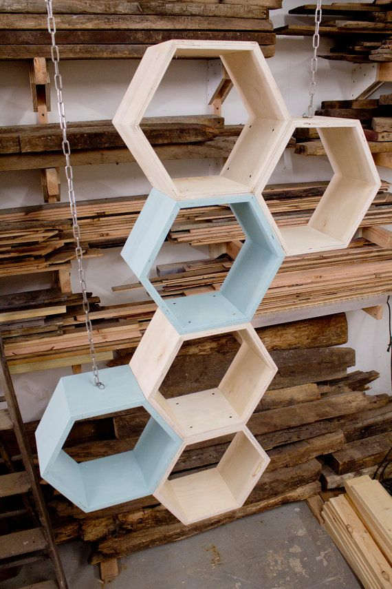 Honeycomb Shelves shelving unit reclaimed pine by newantiquity