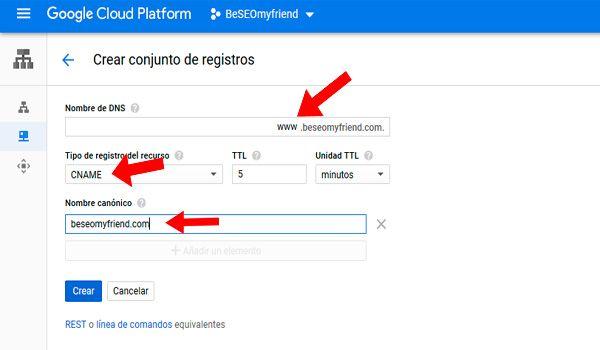 Https Beseomyfriend Com Configurar Dns Google Cloud Google Alojamiento Web Nombre