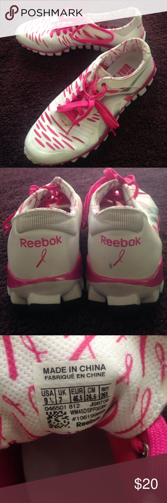 Pink & white breast cancer edition Reebok sneakers These are pretty much brand new pink and white lightweight breast cancer edition Reebok sneakers! Super cute and comfy and only worn a few times! A little too big for me so trying to get them off my hands! Reebok Shoes Athletic Shoes