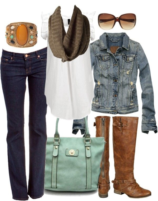 casual outfit - fall. love the jean jacket