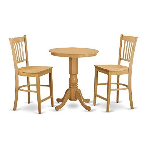 East West Furniture EDGR3 OAK W 3 Piece High Top Table And 2 Dinette