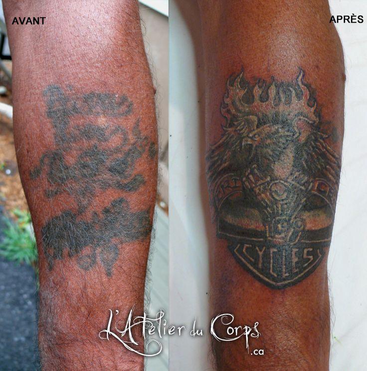 Cover up tattoo. Recouvrement d'un ancien tatouage par Gaëlle Mouster (L'Atelier du Corps, Longueuil Qc) 450-332-6496