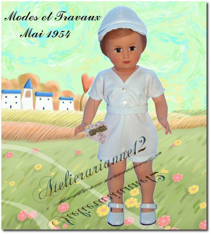 Vêtement poupée MODES ET TRAVAUX mai 1954 , Tenue de tennis pour Françoise