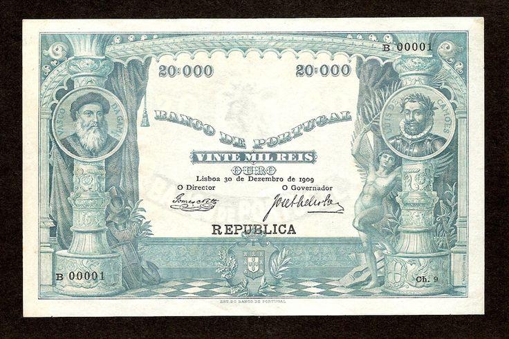 Portugal - 20 mil réis de 1909 do Banco de Portugal