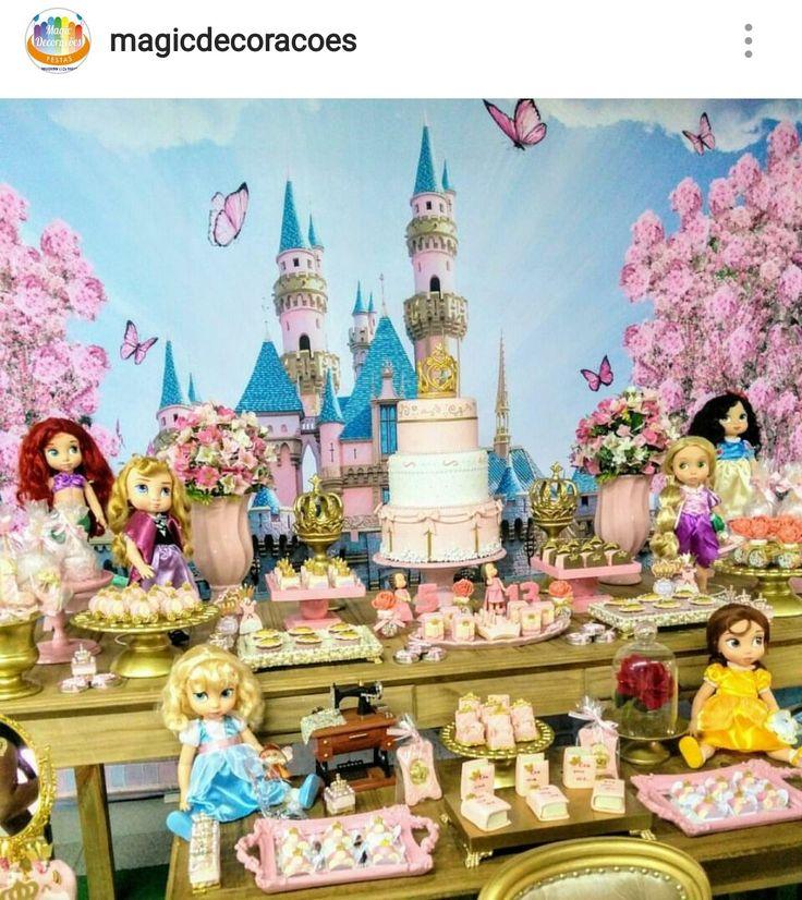 Disney's Princess Toddler Birthday Party Dessert Table and Decor