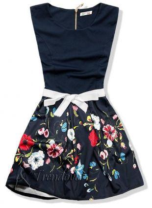 Granátové květinové šaty 101-5