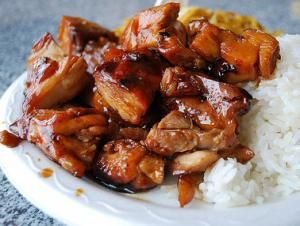 Bourbon Chicken(sweet and spicy) 2 LB boneless chicken breasts; cut into bite-size pieces 2 TB olive oil 1 garlic clove; crushed 1/4 tsp ginger 3/4 tsp crushed red pepper flakes 1/4 cup apple juice 1/3 cup light brown sugar 2 TB ketchup 1 TB cider vinegar 1/2 cup water 1/3 cup soy sauce 1 TB cornstarch; (if thick sauce desired