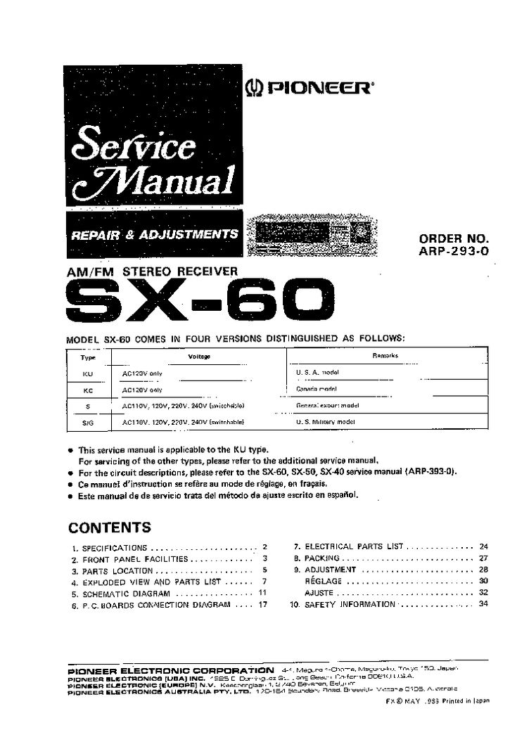 PIONEER SX60 Service Manual free download, schematics