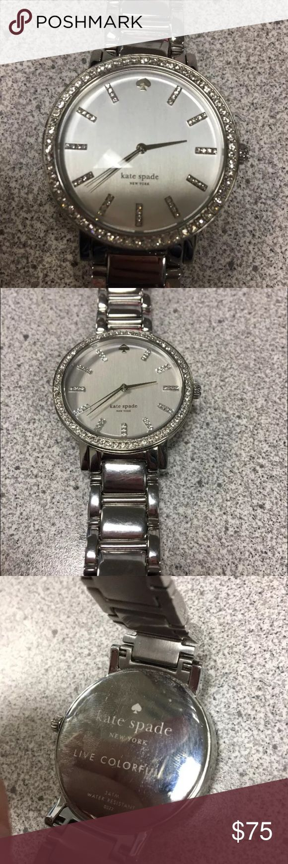 Kate Spade Gramercy Watch. Kate Spade Gramercy Watch. Silver tone with Rhinestones. Comes with extra links. Excellent condition-worn for a few months. Some scuffs from normal use as seen in pics. Needs new battery.  No box. kate spade Accessories Watches