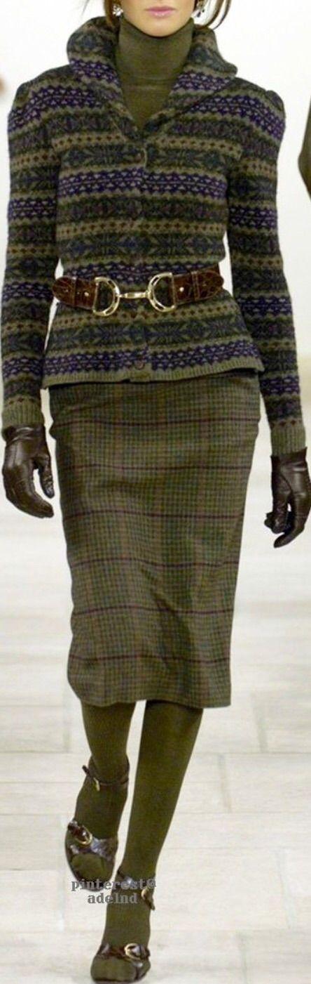 Ralph Lauren Loden Green & Plum Fair Isle Sweater and Plaid Skirt ~ Love (but with boots instead)