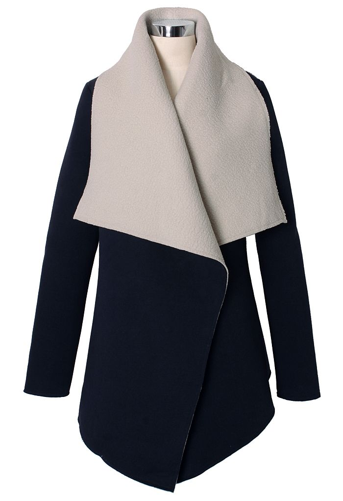 Faux Fur Drape Cape Jacket in Navy - Retro, Indie and Unique Fashion