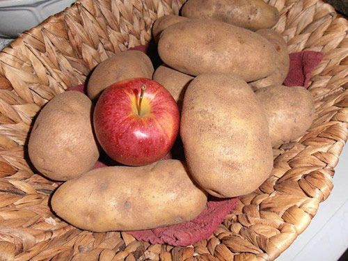 Stick an apple in your bag of potatoes to prevent premature tater sprouting and shriveling.