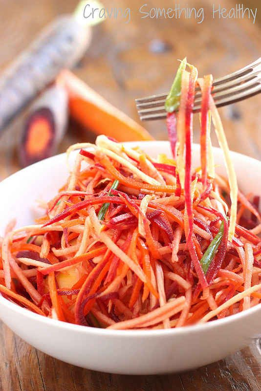 """Raw Rainbow """"Noodle"""" Salad With Maple Syrup"""