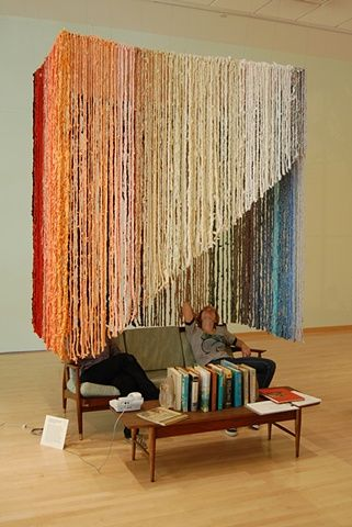 Rachel Barnes, Kelly Flegal, Tatyana Grechina, Soft Sculpture Couch, installation exterior view, 2011. Crocheted and latch hooked found fabric, steel armature, dimensions variable.