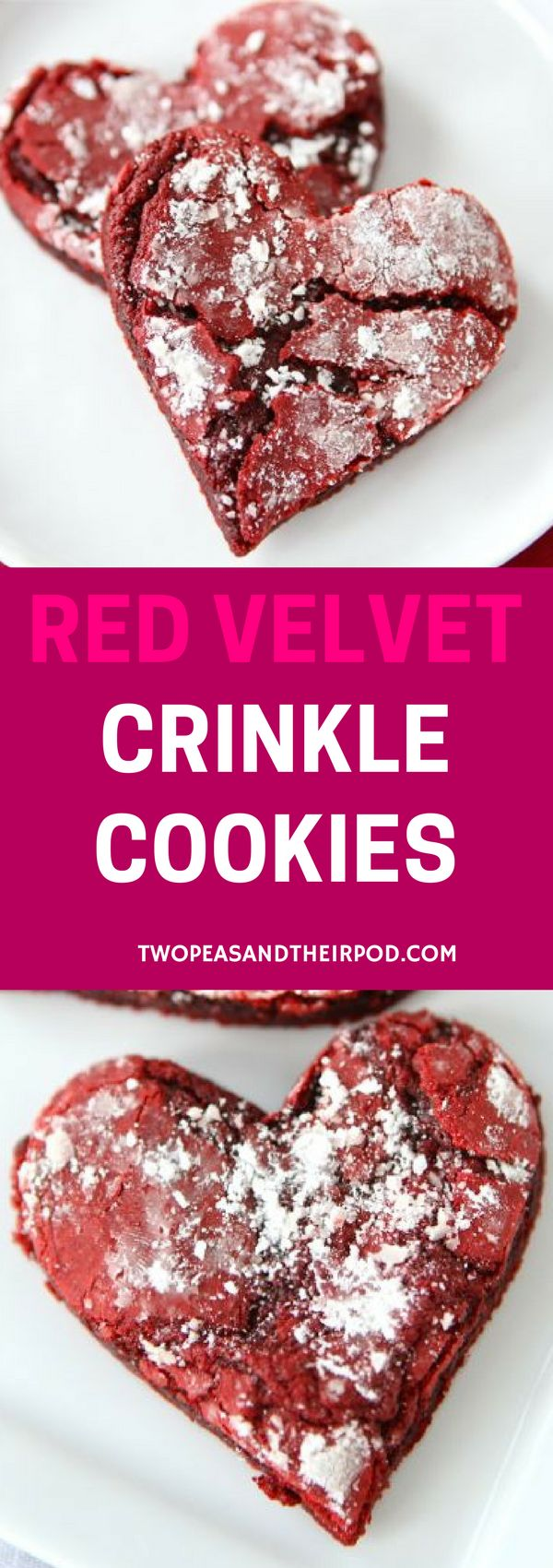 Red Velvet Crinkle Cookies cut into heart shapes for Valentine's Day. Your sweetheart will love these festive cookies. For more easy and delicious dessert recipes, check us out @twopeasandpod #desserts #sweettooth #easyrecipe