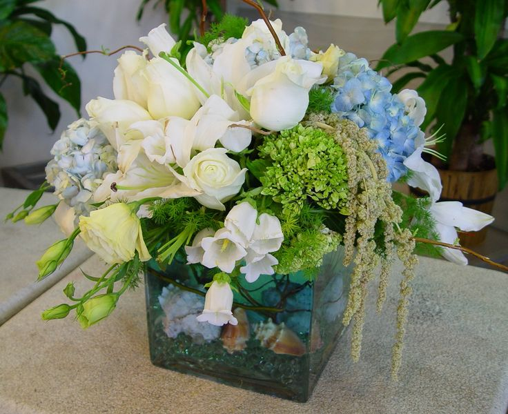 beach teamed wedding flowers | One way to bring a theme into your wedding flower centerpiece is to ...