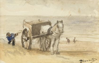 Bernardus Johannes Blommers (1845-1914) Shell fisher near Katwijk, watercolour on paper 9 x 13,9 cm., signed l.r. Collection Simonis & Buunk, The Netherlands.