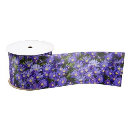 Blue Anemone Flowers Floral Satin Ribbon - floral style flower flowers stylish diy personalize